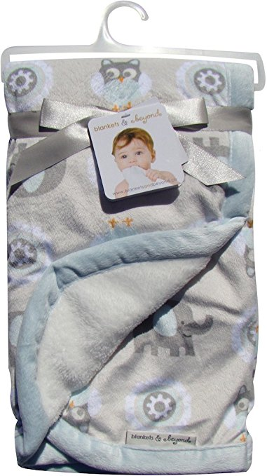 Blankets and Beyond Blue Elephants & Owls Reversible Baby Blanket