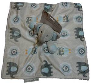 Carters Carter S One Size Gray Trim Baby Blue Elephant Lovey Rattle Blanket