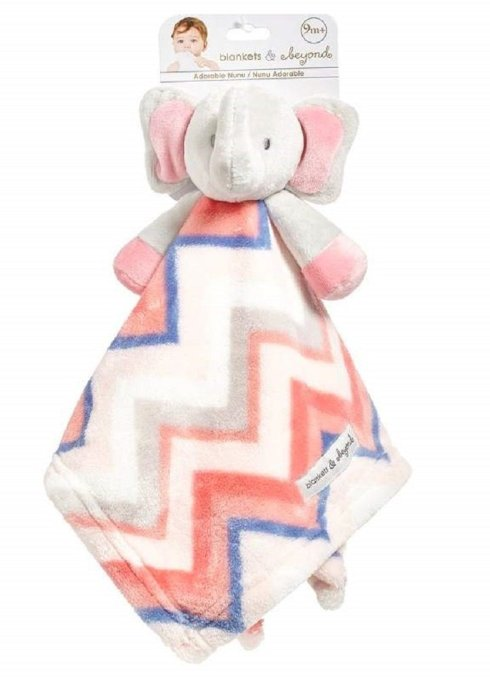 Blankets and Beyond Baby Girls Pink Chevron Elephant Security Blanket, Lovie, Lovey