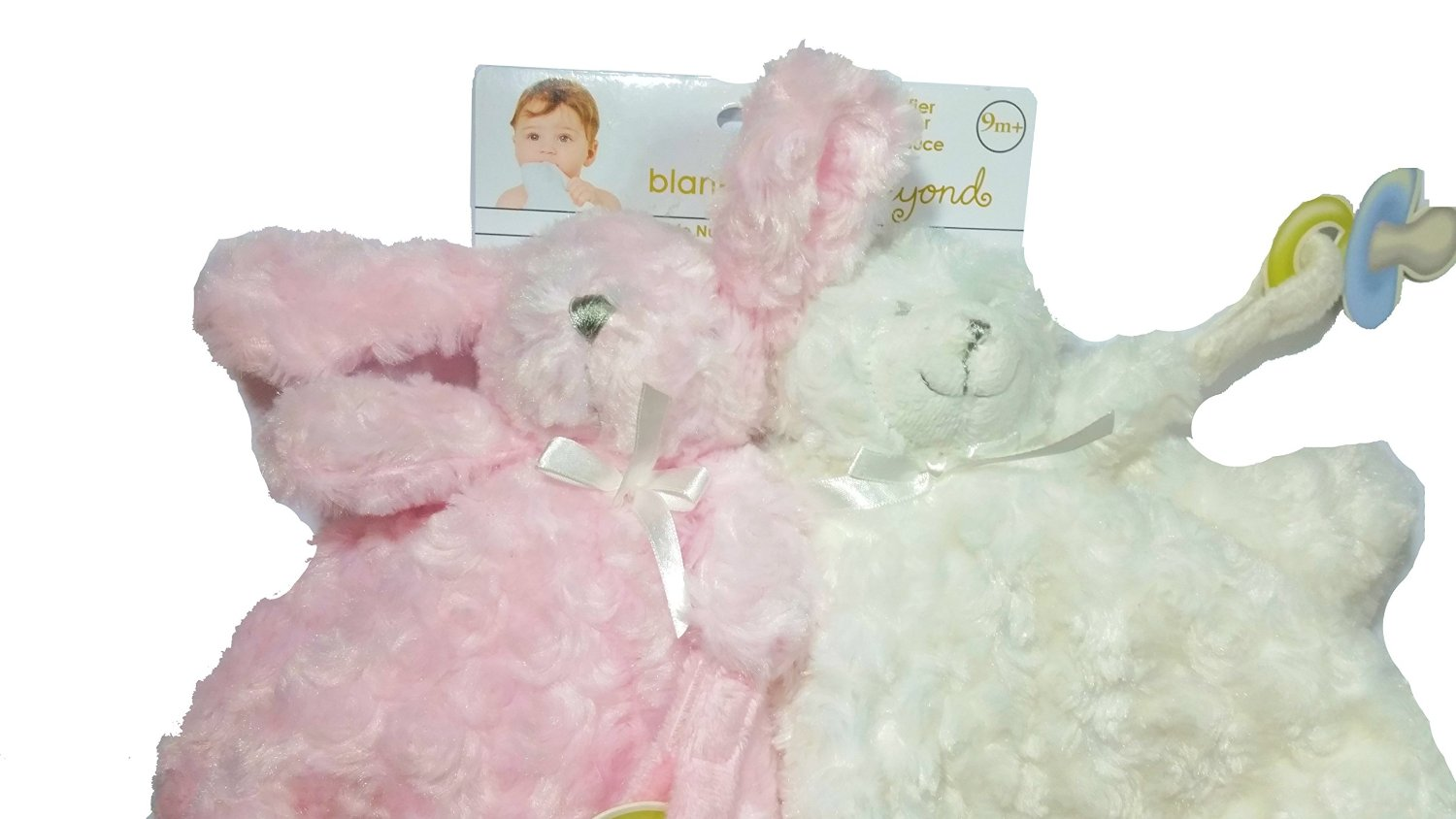 Blankets and Beyond Baby Girl Pink White 2pk Security Blanket Lovey