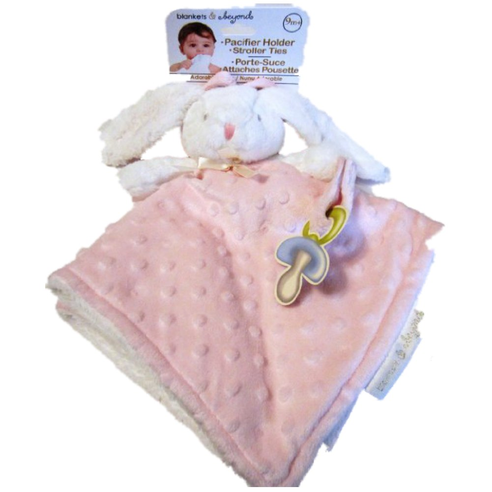 Blankets and Beyond Baby Girls White and Pink Bunny Security Blanket, Lovey, Nunu