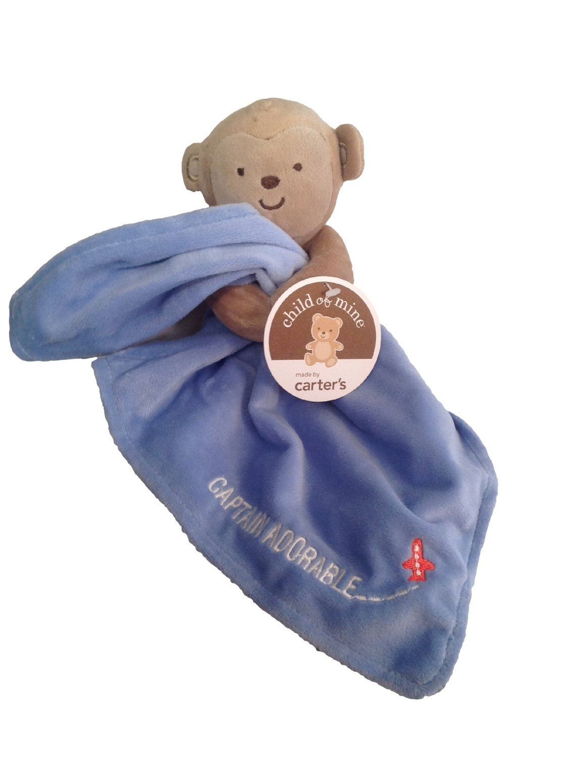 Carter's Baby Boys Blue Monkey Snuggle Security Blanket, Lovey, Lovie