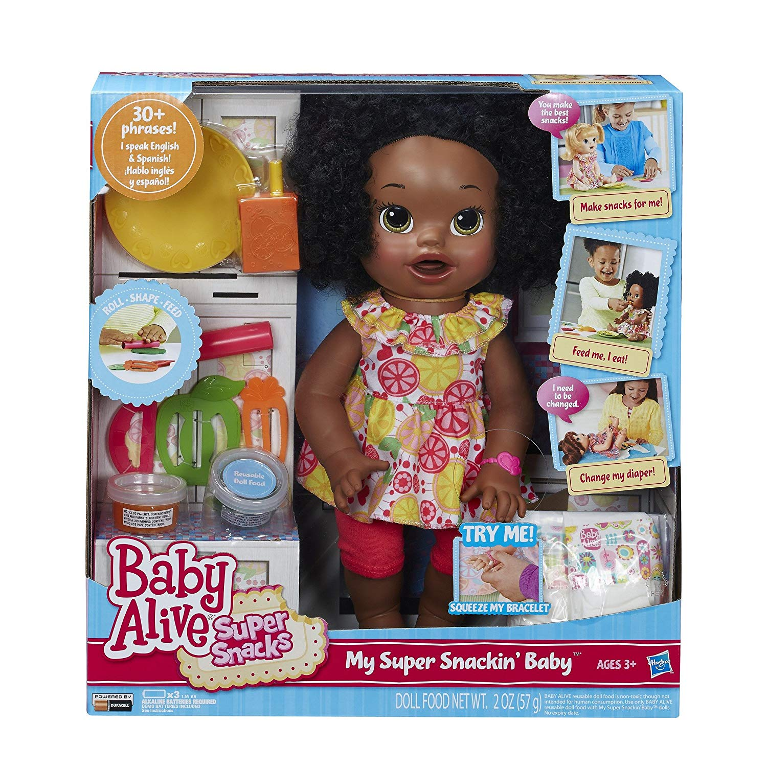Baby Alive Super Snacks Snackin' Sara African American Doll-baby alive doll, girls dolls, girls toys, girls gifts, interactive dolls, girls baby dolls