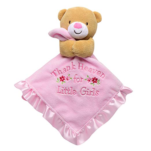 Baby Starters Baby Infant Pink Thank Heaven for Little Girls Bear Security Blanket-baby shower gifts, baby blankets, lovies, loveys, lovey, nunu