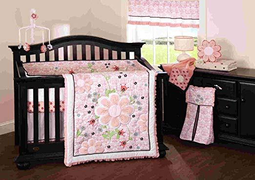 Beansprout Camille 6 Piece Pink and White Crib Set-baby room, nursery bedding, crib bedding, boutique bedding, boutique nursery