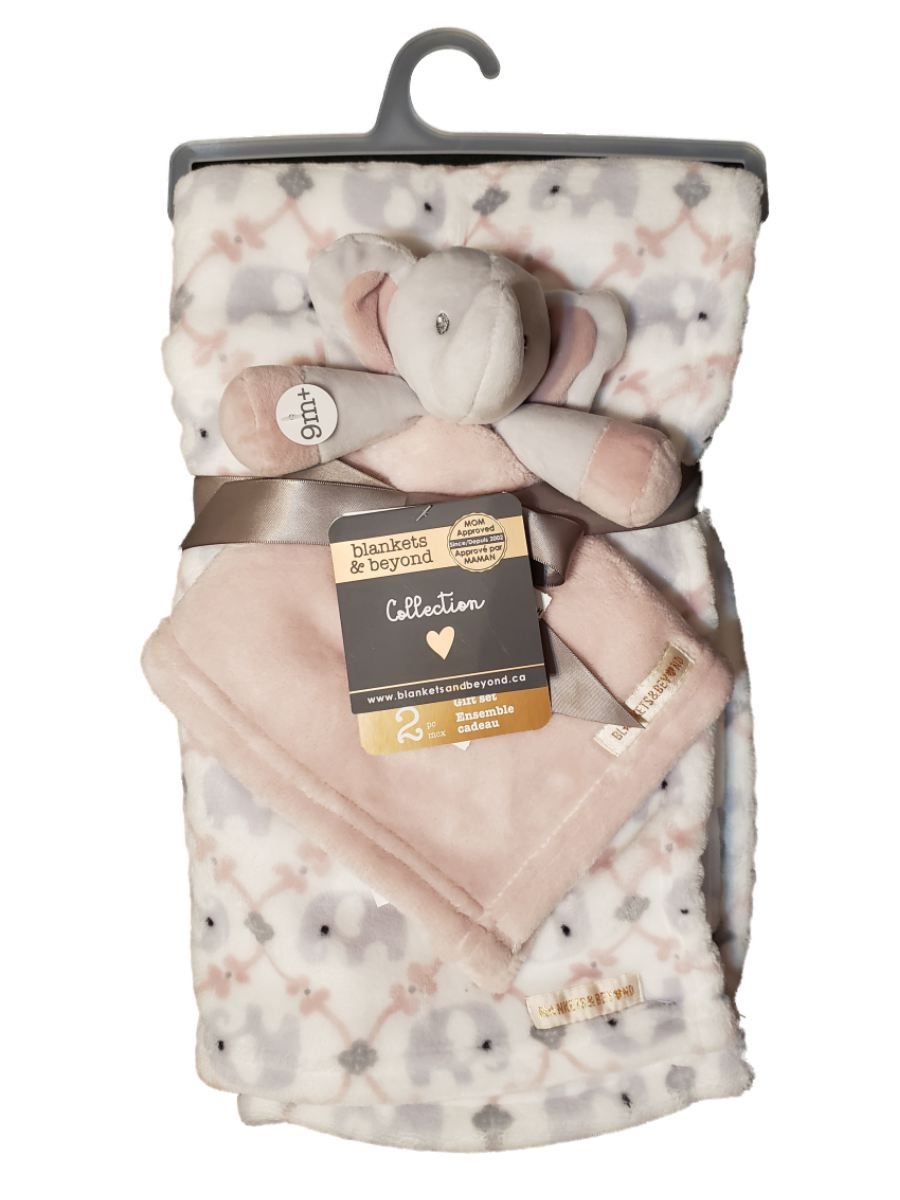 Blankets and Beyond Baby Infant Girls 2pc Pink Plush Elephant Security Blanket Lovey Gift Set-baby shower gift, baby blanket, baby gifts, baby toys, lovie, lovey, lovies, loveys, toys, girls gifts
