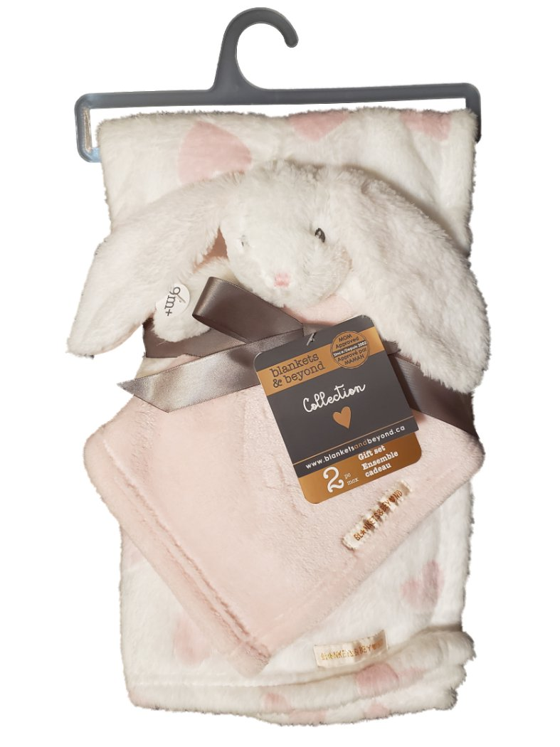 Blankets and Beyond Baby Infant Girls 2pc Pink Plush Bunny Rabbit Security Blanket Lovey Gift Set-baby shower gift, baby blanket, plush bunny rabbit, baby gift, baby toys, nursery bedding, crib blankets