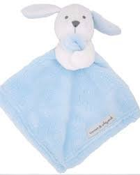 Blankets and Beyond Boy Blue White Bunny Baby Security Blanket Plush-baby shower gift, baby security blanket, nunu, plush toys, baby toys baby gift
