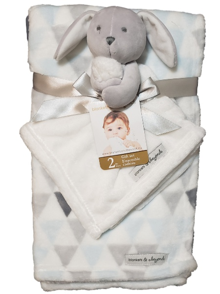 Blankets and Beyond Baby Boys Blue White Grey Bunny Rabbit 2pc Layette Security Blanket Set-baby shower gifts, baby toys, baby plush, plush toys, rabbit, bunny, nursery, gifts, blankets, lovies, loveys, lovey
