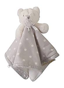 Blankets and Beyond Bear White with Gray Polka Dot Security Blanket Lovey-baby shower gifts, nunu, lovie, lovey, lovies, baby blankets