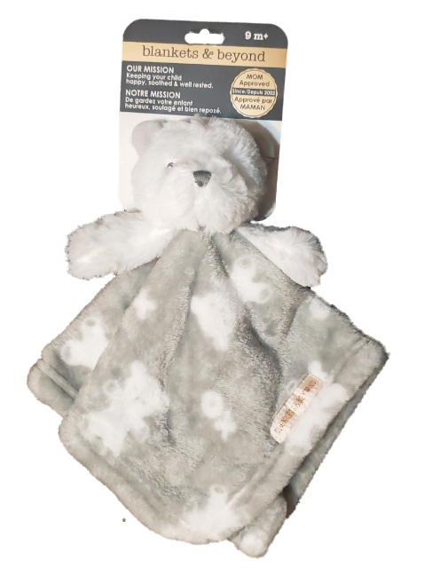 Blankets and Beyond Baby GIrl Boy Grey Plush Teddy Bear Security Blanket Lovey-plush toys, plush animals, plush teddy bear, lovie, lovey, lovies, loveys, baby toys, gifts, snuggle, nunu
