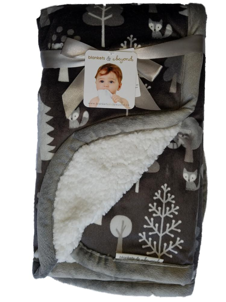 Blankets and Beyond Baby Boy Girls Sherpa Fox Racoon Design Layette Blanket-baby shower gift, sherpa blanket, baby blanket, fox, boys, girls