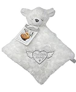 Blankets and Beyond God Bless this Baby White Lamb Security Blanket Lovey-security blankets, lovies, loveys, lovey, nunu, baby shower gifts, baby blankets