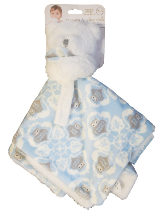 Blankets and Beyond Baby Boys Blue Plush Bear Owl Security Blanket Lovey Nunu-baby shower gift, lovie, lovey, lovies, loveys, plush toys, plush owl, baby toys, infant toys