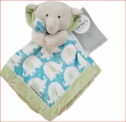 Carter's Baby Infant Green/Grey Elephant Security Blanket Lovey-baby shower gifts, security blankets, lovies, loveys, lovey, baby blankets