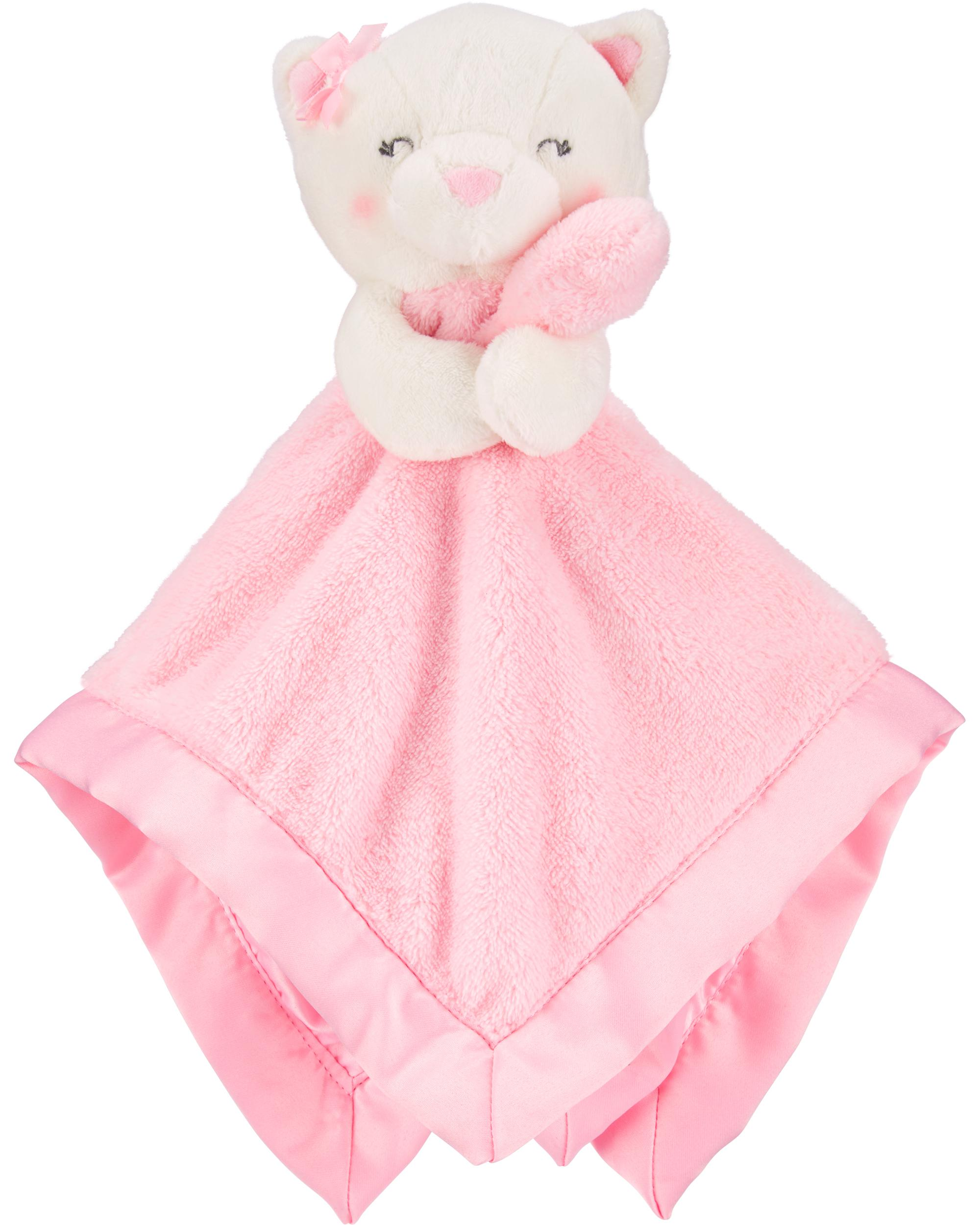 Carter's Baby Infant Girls Pink White Kitty Cat Security Blanket Lovey-carters blankets, security blanket, lovey, lovie, lovies, loveys, nunu, snuggle buddy, baby shower gift, kitty cat, plush gifts, plush cat