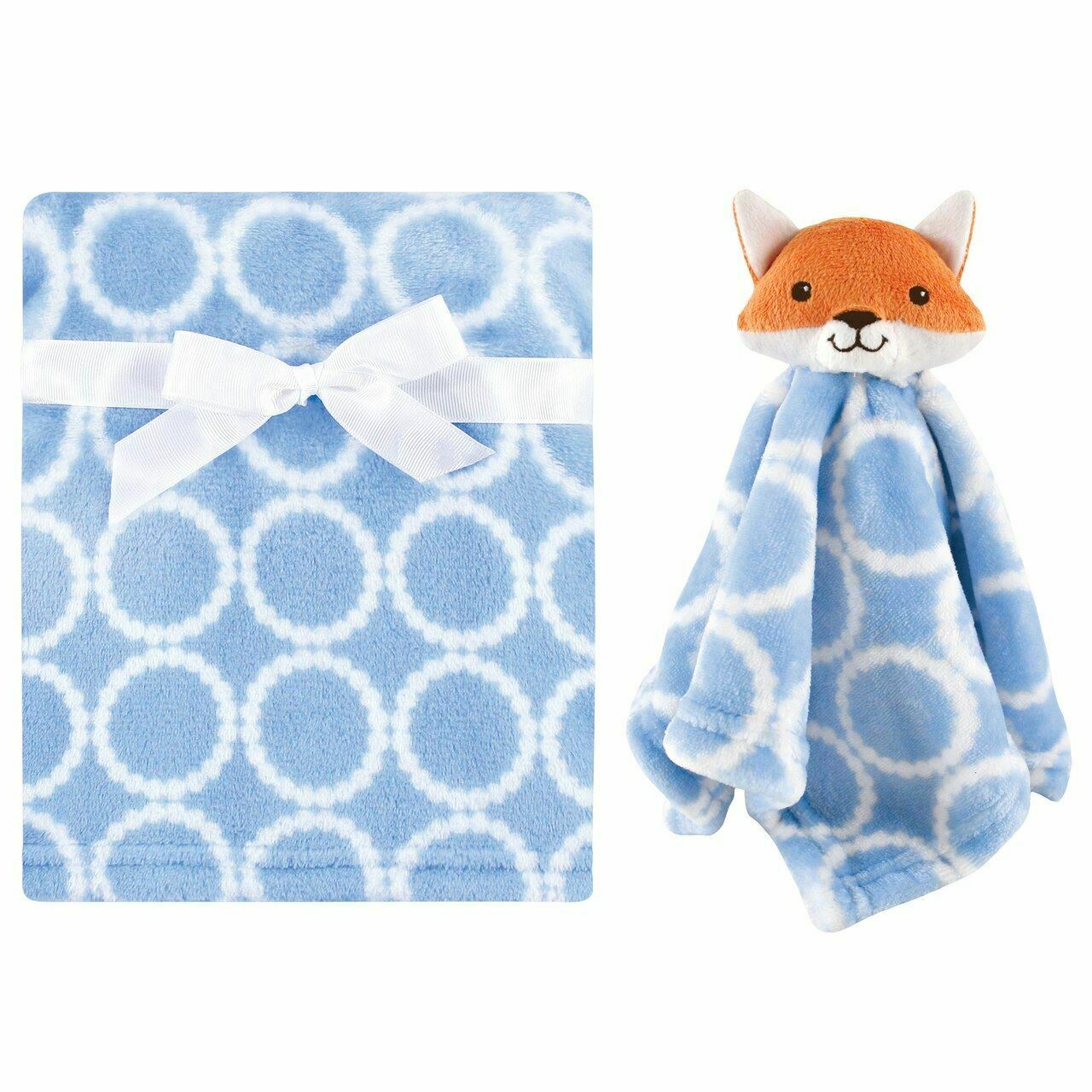 Hudson Baby Boys Blue Blanket and Plush Fox Security Blanket Lovey Set-baby shower gifts, fox, plush fox, lovie, lovey, lovies, loveys, baby toys, baby blankets, gifts for boys