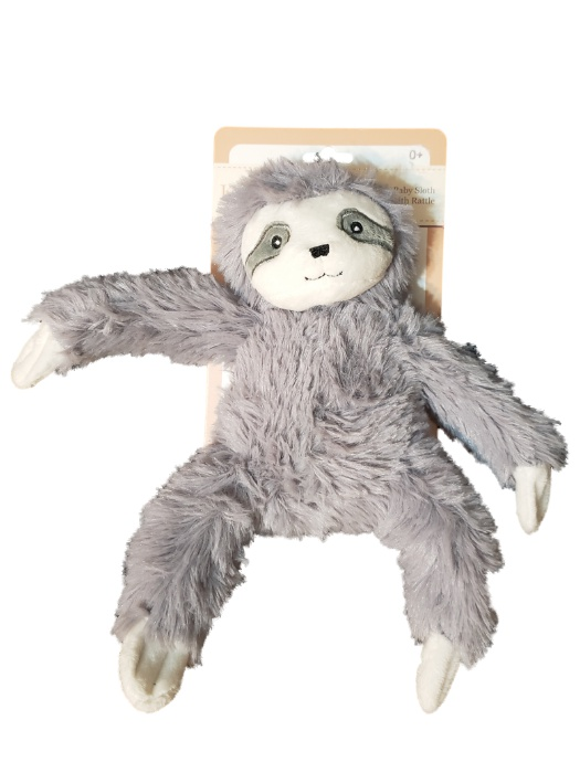 "Kelly Baby Baby Sloth 7"" Plush Snuggle Toy with Rattle-baby shower gift, plush animals, snuggle, buddy, security blanket, sloth"