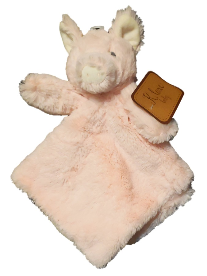 K Luxe Baby Infant Girls Pig Piggy Pink Rattle Security Blanket Lovey-baby shower gift, plush pig, piggy, pink pig, baby girls gifts, girls toys, girls gifts, baby gifts