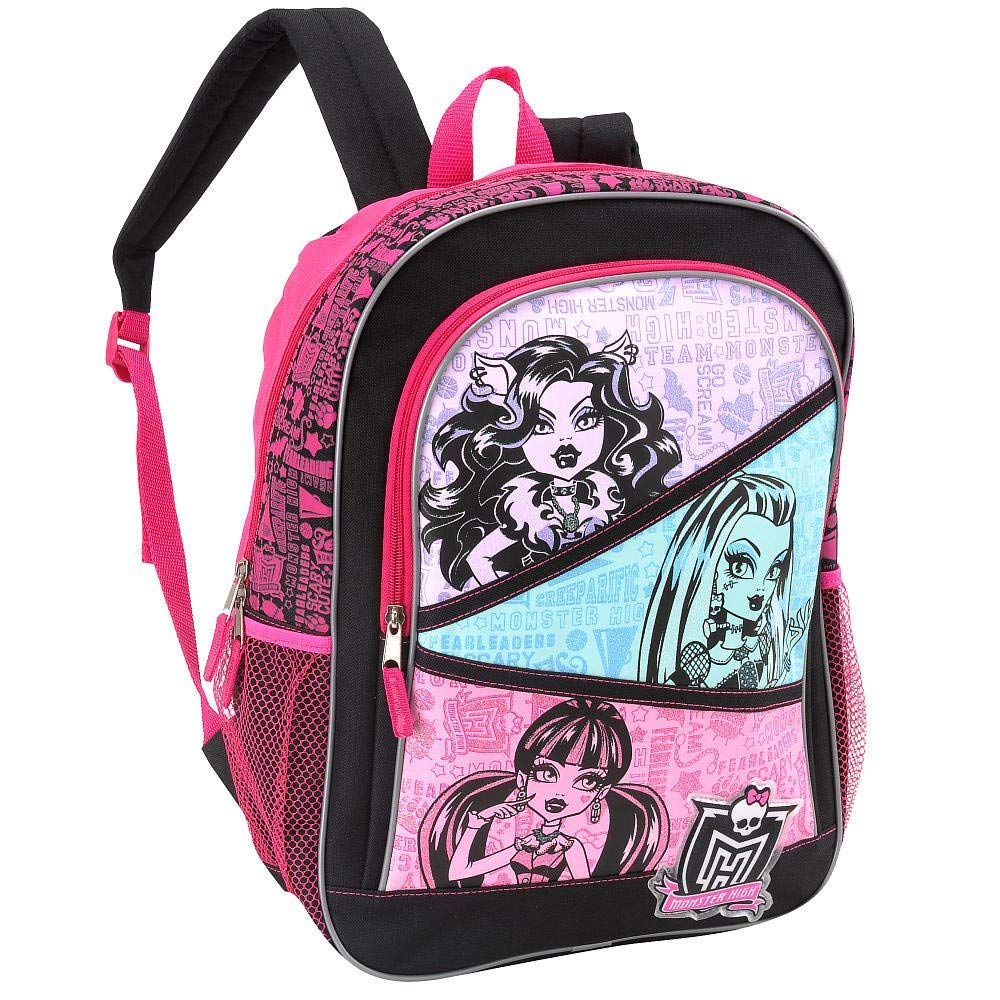 Monster High Kids Girls Black and Pink 16 Inch Backpack-girls backpacks, girls bags, monster high backpacks